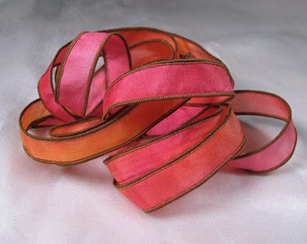 Hand Dyed Silk Ribbon - Hand Painted Jewelry Bracelet Wrap - Hot Pink Mango