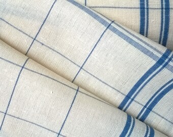 COUPON canvas cloth cotton and linen off white and blue 60x80cm