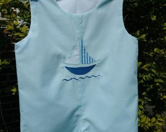 Infant Boy's Jonjon, size 12 months. Light blue with sailboat.