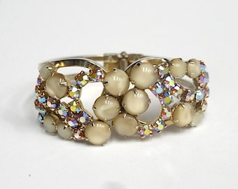 Verified Juliana Cream and AB Rhinestone Clamper Bracelet – D&E Clamper – 1960s Jewelry – Vintage - Rhinestone Bracelet - Fall Jewelry