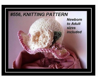 HAT knitting pattern  baby  to adult, num 556, INSTANT DOWNLOAD, fancy dress up sunhat