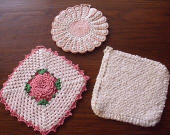 Three Vintage Potholders, Crochet Potholder, Crochet Hot Pad, Pink Potholder, Pink Hot Pad,  Pink Kitchen Linens, Potholder lot