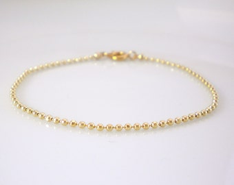 Gold ball chain bracelet, Rose gold ball chain, Rose gold bracelet, double strand bracelet, layering bracelet