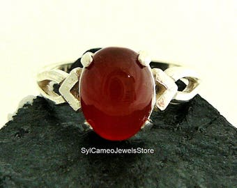 Midi Ring Red Carnelian Stone Sterling Silver Setting