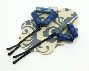 Cute Decorative Hair Pins with Wire Wrapped Lapis Lazuli Cylinders