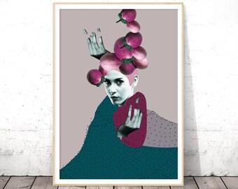Surreal Print, Collage Wall Art, Digital Download, Printable Art, Dorm Decor, Gift for Her, Surrealism, Geek Poster, Whimsical Decor