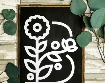 Personalized Floral Letter Wood Sign