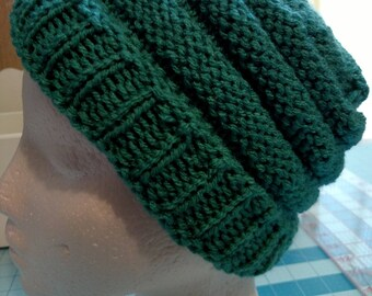 Textured Green Stretchy Women's Handmade Knitted Hat