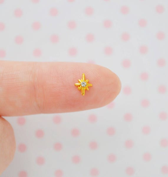 6mm Tiny Kawaii 8 Point Star Charm with Clear Rhinestone Center Nail ...