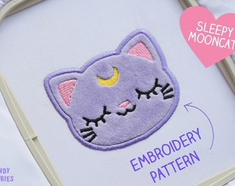 KAWAII CAT with MOON crest embroidery pattern - Sleepy Kitty Kitten Design Animal Pet - applique digital files fabric - 10 x 10 frame