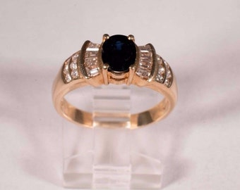 14K Yellow Gold Sapphire and Diamond Ring, size 7