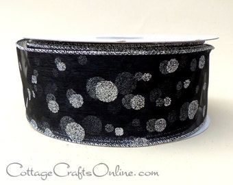 "Wired Ribbon, 2 1/2"",  Black Sheer Silver Glitter Polka Dots - FIFTY YARD ROLL -  ""Black Silver Dot"" Christmas, New Year's Wire Edged Ribbon"
