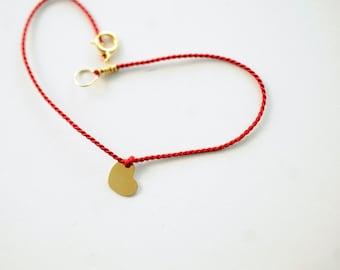 Red silk heart bracelet