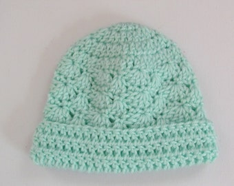 Crochet Infant Hat Green Infant Beanie Hat  with Rolled Brim Suitable 3-6 Months,Ready to Ship - Direct Checkout