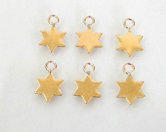 2 - 14K Gold Filled Tiny Star of David Charms 7mm, MADE IN ISRAEL, GC22