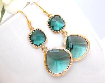 Wedding Jewelry, Teal Earrings, Aqua Green, Green, Bridesmaid Earrings,Brides Gifts, Gold, Teardrop, Dangle, Wedding Earrings, Wedding Gifts