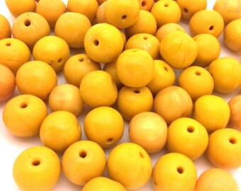Lot Of 10 Pcs Amber Moroccan Berber Tribal Clay Resin Round 12.0 -13.0 mm Beads Yellow Egg Yolk Handmade