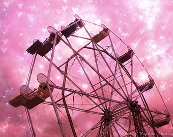 Pink Ferris Wheel Photos, Dreamy Pink Carnival Ferris Wheel, Baby Girl Nursery Decor, Fairytale Girls Room Pink Ferris Wheel Carnival Prints