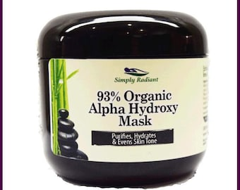 Organic Alpha Hydroxy & Hyaluronic Acid Face Mask - Vegan Skincare Natural Skin Care |Anti-Aging Skin Care