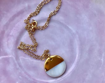 Gold dipped pendant, gold dipped shell, disk pendant, round pendant, gold plated chain, gold dipped necklace, white and gold necklace, gold