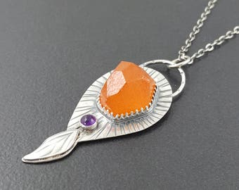 Spessartite Garnet Necklace, sterling silver, amethyst, orange garnet necklace, orange purple silver, michele grady, michele grady jewelry