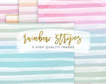 Rainbow Stripe Watercolour, Watercolor Stripes Digital Papers, Watercolor Art, Candy digital paper, colorful texture, colorful digital paper
