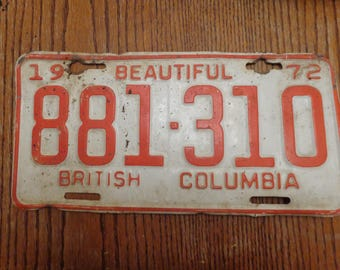 1973 British Columbia License Plate, Old Licese Plate, Vintage License Plate, License Plate Vintage, Man Cave Decor, License Plate, License