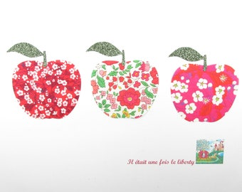 Applied fusing fabric liberty Mitsi valeria Anjo Mitsi red apples iron on apples liberty fabrics pattern Apple patch badge