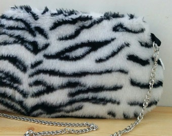 Zebra bag, plush clutch, Zebra clutch, Zebra handbag, Zebra purse, Zebra plush bag, chain bag,plush handbag,soft bag,fur bag