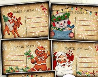 Retro Christmas Children Digital Postcards Greeting Cards Vintage Christmas Digital Collage Sheet Christmas Party Invitation
