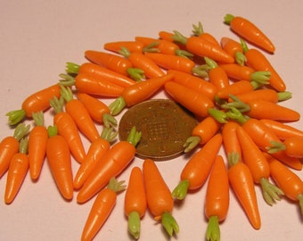 1:12 Scale Set of 10 Topped Carrots Dolls House Miniature Food Vegetables Accessory