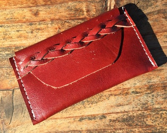 Red Leather Card Holder, Braided Wallet, Card Wallet, Red Leather