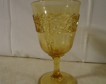 McKee Amber Pointed Panel Goblet