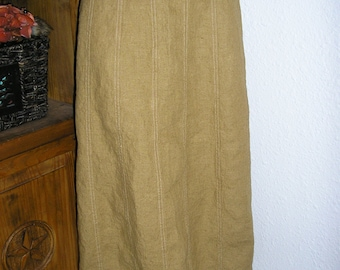 Vintage 90s, 100% linen, tobacco, skirt, size large, by Solitaire, MINT, heavy linen skirt, A line