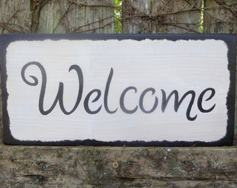 "WELCOME.....Rustic, Country, Primitive, Decorative Wooden Sign, 15"" X 7.25"", Hand-Painted, Home Wall Decor, Porch Decor"