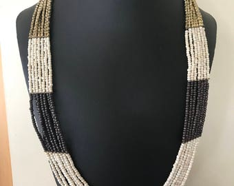 Flat Seven Layer Long Dark Brown Gold and Off White Seed Bead Necklace