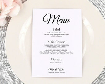 PRINTED Wedding Dinner Menu, Custom Menu Card,  Party Menu, Reception Menu, Simple, Romantic, Elegant, Modern, Table Menu, Party, MR & MRS