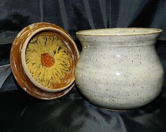 Handmade Ceramic Jar/Canister with Sunflower lid