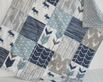 baby quilt- woodland baby quilt- navy baby quilt- baby boy bedding-minky baby quilt- arrow baby quilt- moose baby quilt- gray and navy
