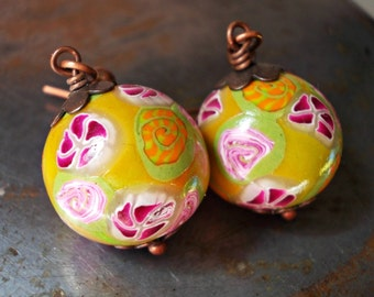 Floral earrings, flower dangle earrings in polymer clay and copper, handmade bead lime chartreuse green orange fuchsia, colorful blossoming