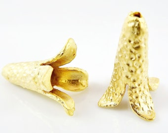 2 Large & Unusual Hammered Fluted Cone Bead End Caps -  22k Matte Gold Plated Round Bead caps