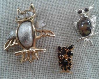 Vintage Owl Pin Trio