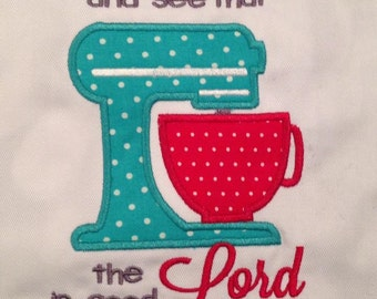 Adult apron with Taste and see that the Lord is good scripture