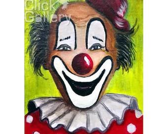 "ACEO Original miniature Clown Portrait, 2,5"" x 3.5"", OAK,acrylic painting, tiny art, ATC collectible, birthday gift"
