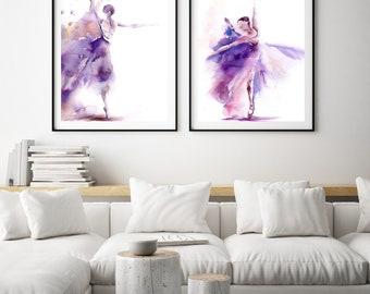 Ballerina in purple wall art prints set, Ballet Art Prints Set of 2, ballerina watercolor painting art, Ballet Art Print Set