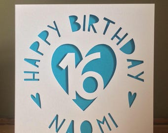 Birthday Card - Personalised Card - Personalised Birthday Card -  Card - Hearts Card - Hand Cut Card - Greeting Card - Age Card - 16th Card