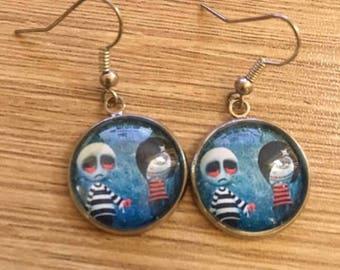 """punk gotic"" earrings cabochon 20 mm"