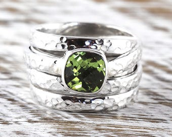 Silver Peridot Ring Hammered Finish Womens 925 Sterling Personalized Jewelry