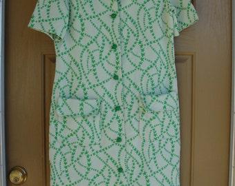 Vintage 1960s I.magnin dress with green stars 60s 70s Large