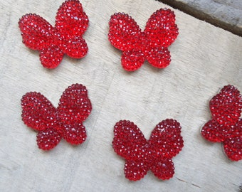 Set of 5 Butterfly red craft 3 cm * 2.5 cm